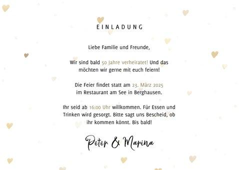 Jubiläumskarte Goldene Hochzeit mit Fotos & Herzen 3