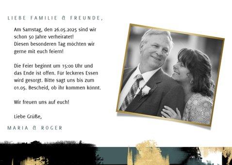 Jubiläumskarte Goldhochzeit Fotos & Farbstreifen 3