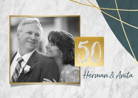 Jubileum uitnodiging 50 jaar met marmer, lijnen en foto's 2