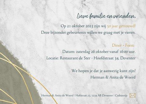 Jubileum uitnodiging 50 jaar met marmer, lijnen en foto's 3