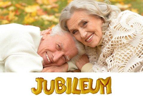 Jubileum uitnodiging ballonnen goud 2