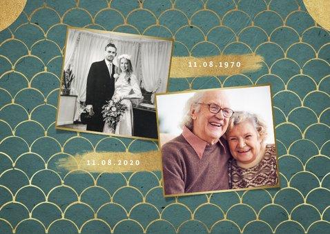 Jubileum uitnodiging klassiek retro goud patroon 2