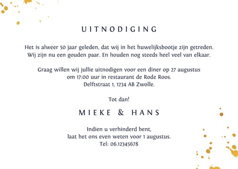 Jubileum uitnodiging vijftig met goudlook kalligrafie 3
