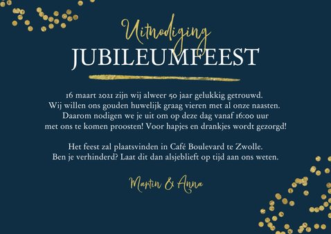 Jubileumfeest uitnodiging 50 jaar confetti goud foto 3