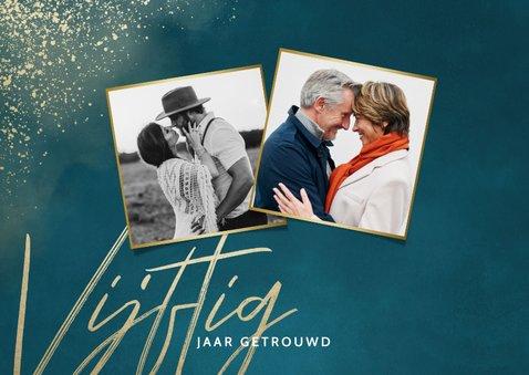 Jubileumkaart 50 jaar getrouwd blauw gouden spetters 2