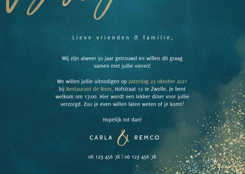 Jubileumkaart 50 jaar getrouwd blauw gouden spetters 3