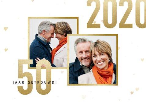 Jubileumkaart 50 jaar getrouwd jaartallen 1970/2020 hartjes 2