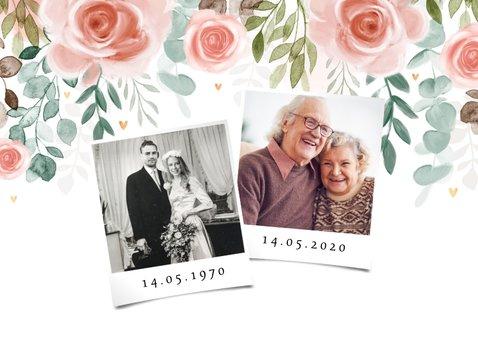 Jubileumkaart 50 jaar huwelijk bloemen klassiek foto 2
