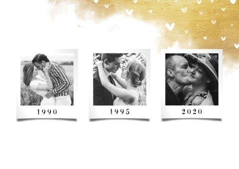 Jubileumkaart fotocollage 3 foto's met hartjes en goud 2