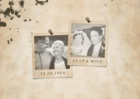 Jubileumkaart 'let's party' vintage met foto's en getal 2