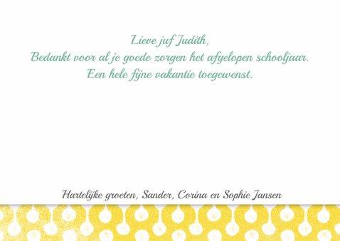 Juffrouw bedankkaart vrolijk roze geel 3