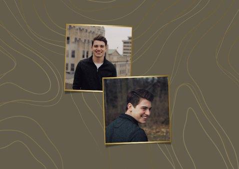 Jugendweihe Dankeskarte Fotos Linienmuster 2