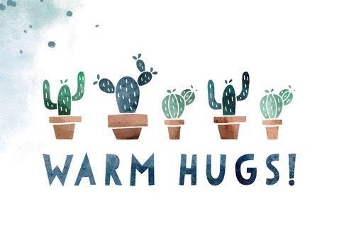 Karte Gute Besserung Warm hugs mit Kakteen 2