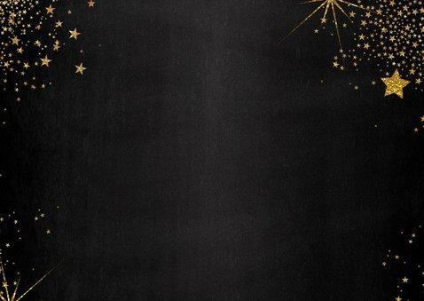 Kerst feestelijke zwarte fotokaart met vele gouden sterren 2