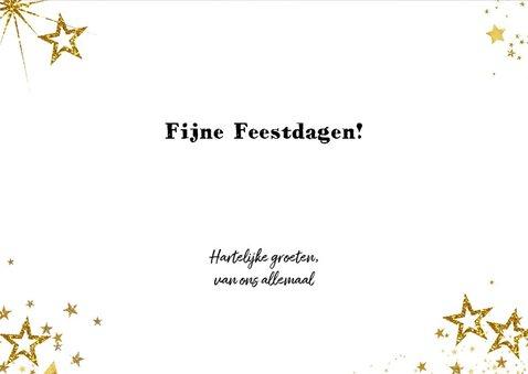 Kerst feestelijke zwarte fotokaart met vele gouden sterren 3