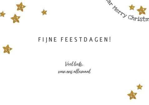 Kerst hippe grijze kaart met foto en gouden en witte sterren 3