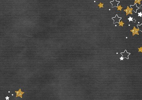 Kerst hippe grijze kaart met foto en gouden en witte sterren Achterkant