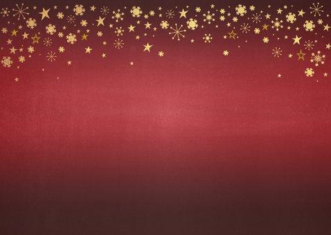 Kerst rode foto kerstkaart met goudkleurige versiering  2