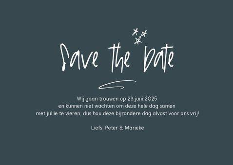 Kerst save the date kaart met foto en handgeschreven tekst 3