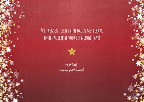 Kerst sfeervolle rode fotokaart  met vele sterren 3