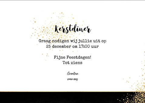 Kerst sfeervolle uitnodiging kerstdiner goud bestek  3