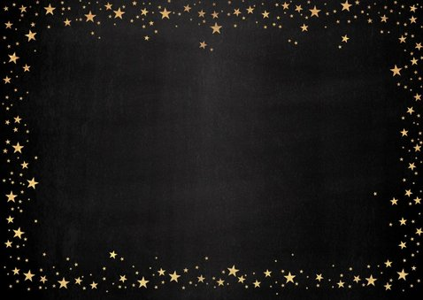 Kerst stijlvolle foto kaart met vele goudkleurige sterretjes 2