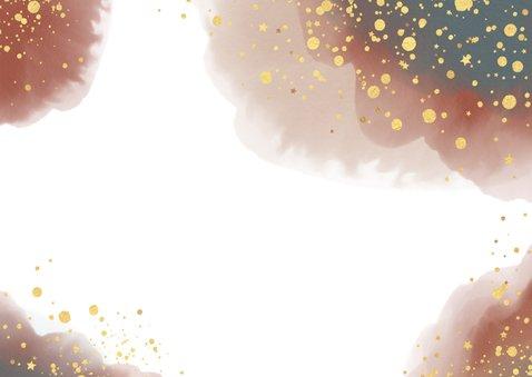 Kerst stijlvolle kaart waterverf en goudkleurige spetters Achterkant