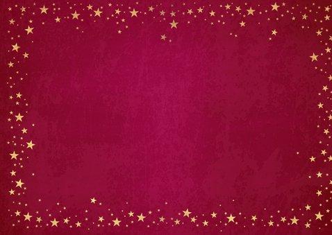 Kerst stijlvolle rode foto kaart met goudkleurige sterretjes 2