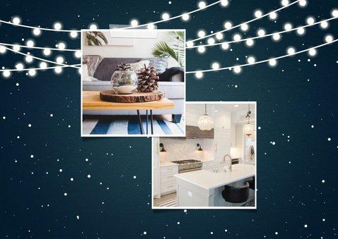 Kerst-verhuiskaart 2 foto's met lampjes en wegwijzerbord 2
