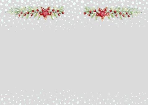 Kerst-verhuiskaart huisjes met kerstkoekjes Achterkant