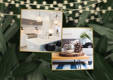 Kerst-verhuiskaart jungle bladeren met gouden accenten 2