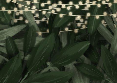 Kerst-verhuiskaart jungle bladeren met gouden accenten Achterkant