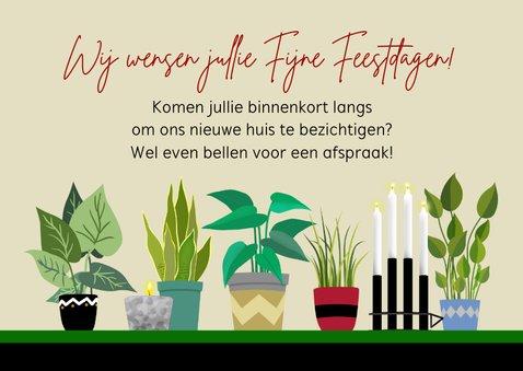 Kerst-verhuiskaart kerstboom kaarsen planten 3