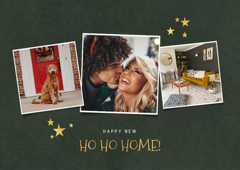 Kerst verhuiskaart kerstboom van dozen, cadeautjes en foto's 2
