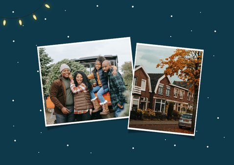 Kerst verhuiskaart kerstboom verhuisdoos kerstballen sterren 2