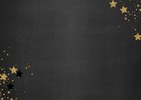 Kerst verhuiskaart met foto hip en feestelijk goud sterren 2