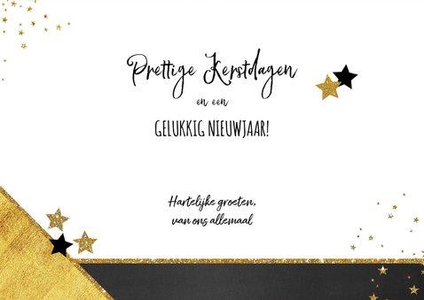 Kerst verhuiskaart met foto hip en feestelijk goud sterren 3