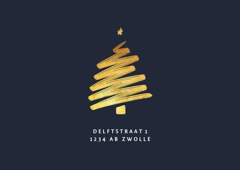 Kerst verhuiskaart met foto huis en goudlook kerstboom 2