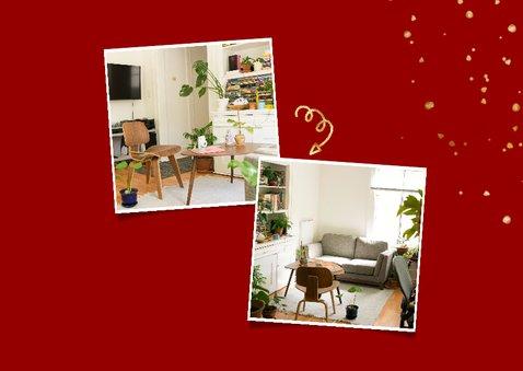 Kerst-verhuiskaart met spetters en foto's 2