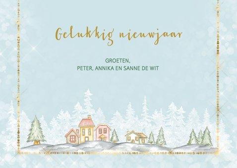 Kerst verhuiskaart met winters dorp met sneeuw 3