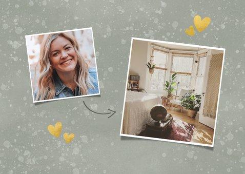Kerst verhuiskaart panterprint huisje, foto en spetters 2