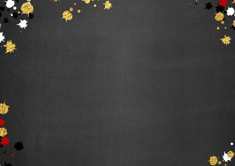 Kerst vrolijke  fotokaart krijtbord met goud elementen 2