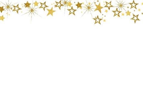 Kerst vrolijke hippe fotokaart met goudkleurige sterren. 2