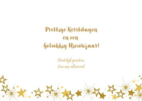 Kerst vrolijke hippe fotokaart met goudkleurige sterren. 3