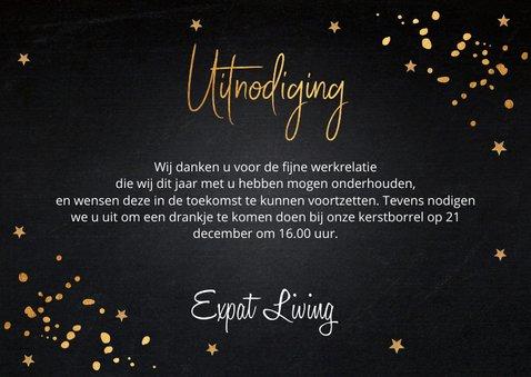 Kerstborrel uitnodiging zwart goudlook confetti 3