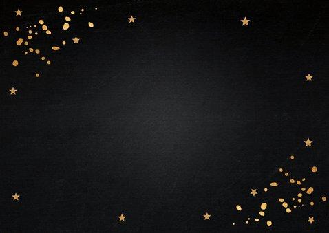 Kerstborrel uitnodiging zwart goudlook confetti Achterkant