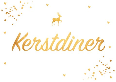 Kerstdiner uitnodiging confetti goud  2