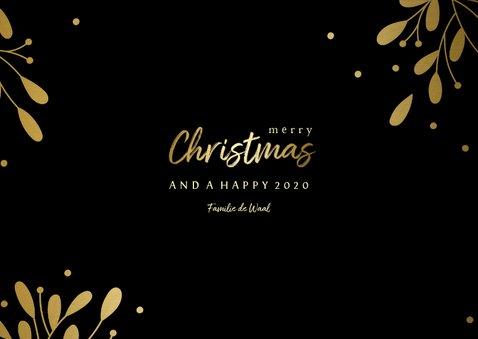Kerstkaart 3 foto's met tekstvak gouden accenten  3