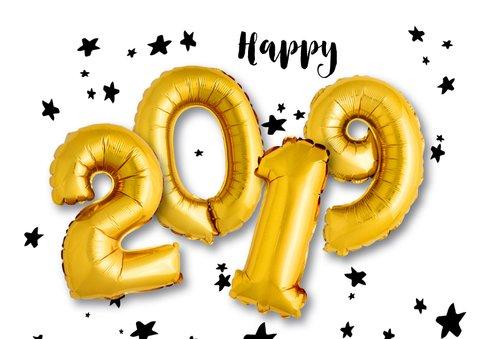 Kerstkaart ballon goud Xmas en 2019 2
