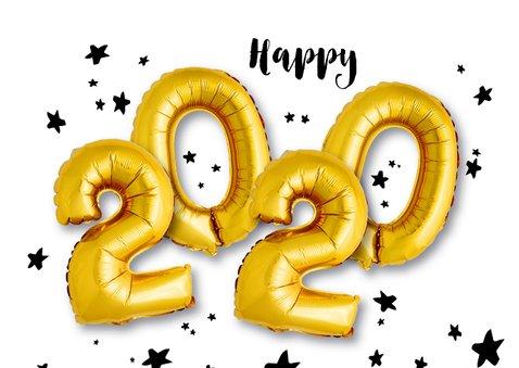 Kerstkaart ballon goud Xmas  2